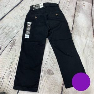 New George Black Twill Pants Flat Front Straight 5